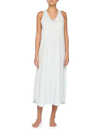 Floral-Detailed Pima Cotton Long Gown, Ocean Blue
