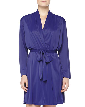 Aphrodite Silky-Knit Wrap Robe, Twilight