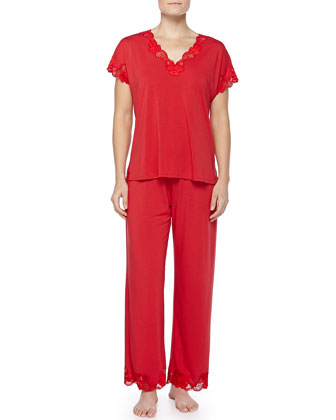 Zen Floral-Lace Trimmed Pajama Set, Russian Red