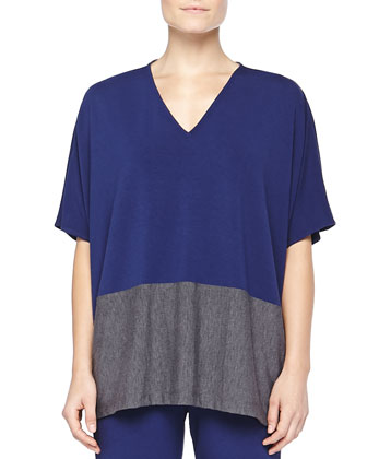 Colorblock Jersey Caftan Top, Deep Sea
