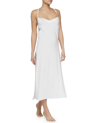 Serenade Embroidered Long Gown, White