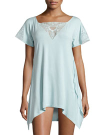 Serenade Embroidered Short Nightgown, Aqua