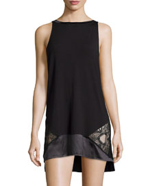 Serenade Satin Trim Chemise, Nero