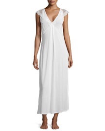 Magnolia Lace-Trim Long Nightgown