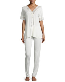Margherita Lace-Trim Two-Piece Pajama Set, Natural