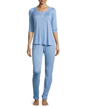 Begonia Two-Piece Pajama Set, Sky Blue