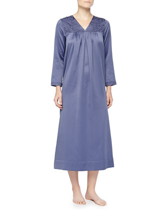 Cozy Elegance Filigree-Embroidered Long Gown, Periwinkle