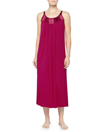 Satin-Trimmed Knife-Pleated Tank Gown, Pinot/Wine