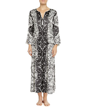 Imperial Lace-Print Caftan, Black/White