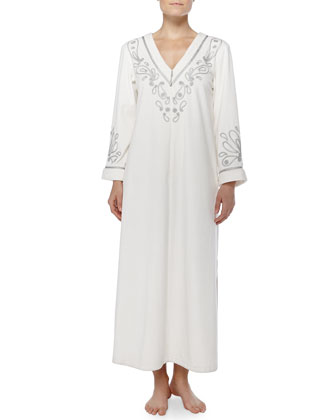 Cozy Holiday Metallic-Embroidered Caftan, Ivory
