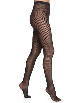 Marie Striped Net Tights, Black