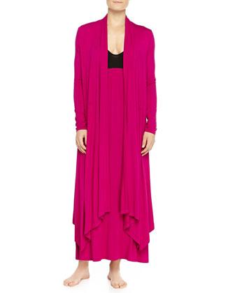 Liquid Jersey Wrap Robe, Fuchsia