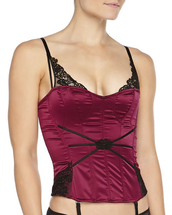 Palazzo Satin Lace-Detailed Corset, Cassis/Black