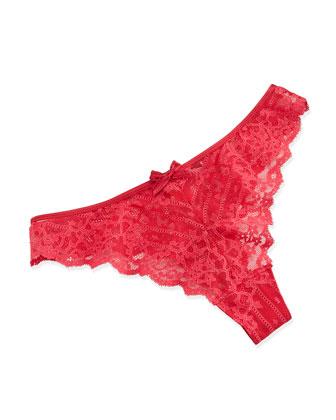 Rive Gauche Lace Tanga Thong, Red
