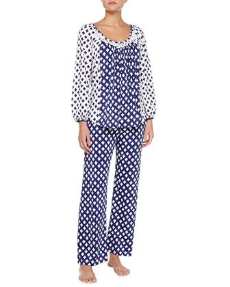 Ocean Breeze Pima Cotton Pajama Set, Blue/White