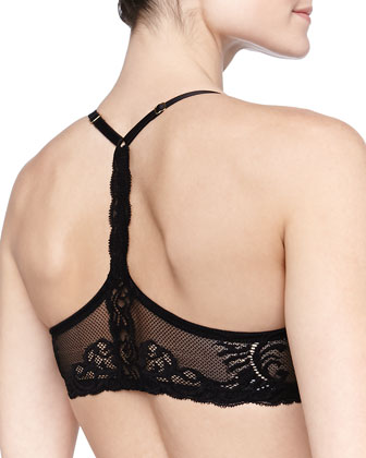 Feathers Front-Close T-Back Bra