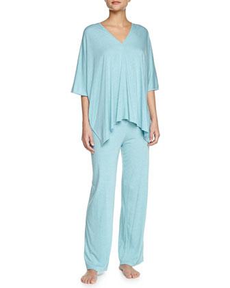 Shangri La Two-Piece Tunic Pajama Set, Freshwater, Women's