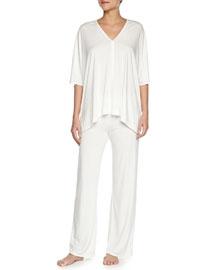 Shangri La Two-Piece Tunic Pajama Set, Ivory