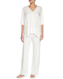 Shangri La Two-Piece Tunic Pajama Set, Ivory, Women's