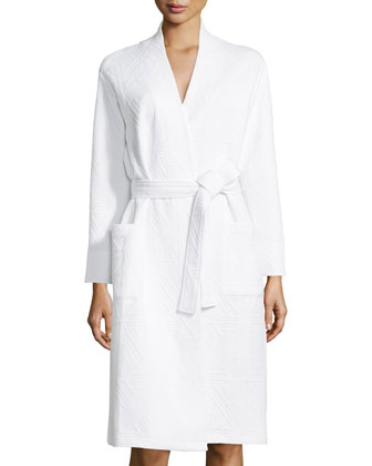 Long-Sleeve Jacquard Robe, Alabaster