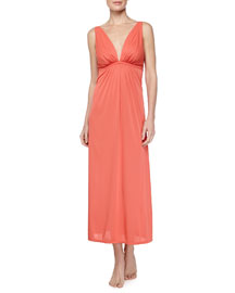Aphrodite Long Charmeuse Gown, Bright Persimmon