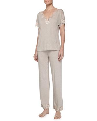 Zen Two-Piece Pajama Set w/ Floral Contrast Lace, Cashmere