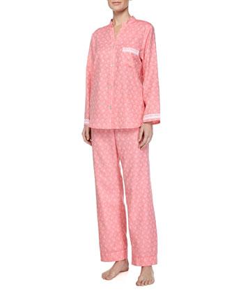 Cotton Paisley-Print Pajama Set, Pink