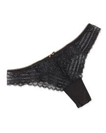 Lace Thong w/ Bow Detail, Black