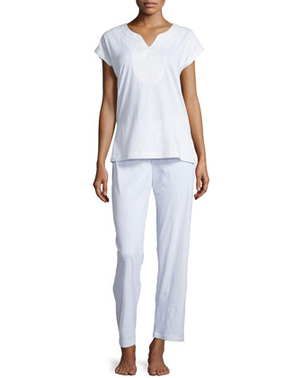 Soft Scroll Embroidery Pajama Set, White