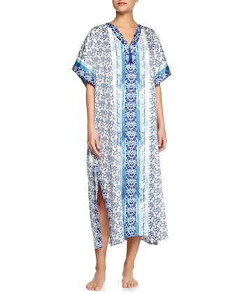 Lotus-Print Long Caftan, Blue
