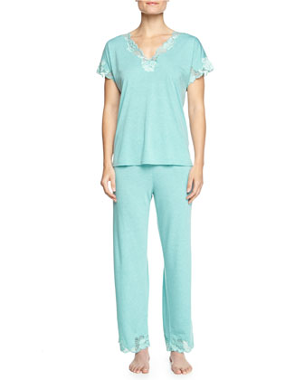 Zen Two-Piece Pajama Set w/ Floral Contrast Lace, Freshwater