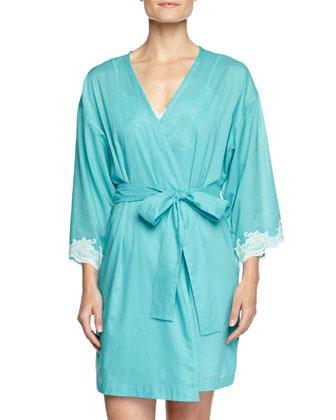 Paradise Voile Lace-Trim Wrap Robe, Light Blue