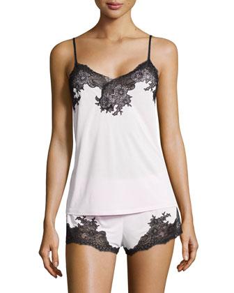 Enchant Lace-Trim Two-Piece Pajama Set, Blush Pink/Black
