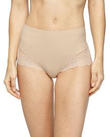 Undie-Tectable� High-Waist Lace Boyshorts, Soft Nude