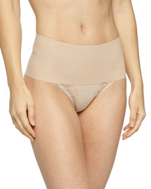 Undie-Tectable?? High-Waist Lace Thong, Soft Nude
