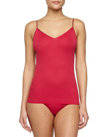 Seamless V-Neck Cotton Camisole, Cranberry