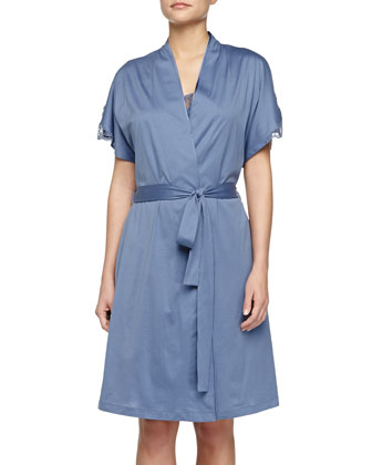 Roma Lace-Trimmed Robe, Blue Shadow