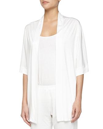 Venezia Open-Front Lounge Jacket, Off-White