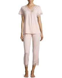 Valencia Lace Cropped Pajama Set, Dusty Rose