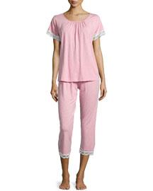 Liz Lace Cropped Pajama Set, Dusty Rose