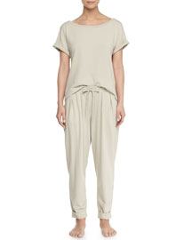 Casual Cotton Pullover Top, Pearl Gray