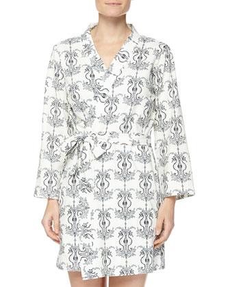 Seahorse-Printed Cotton Robe, Black/White