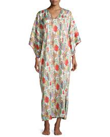 Dynasty Pearl-Print Long Caftan, Multicolor, Women's