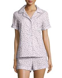 Polka-Dot Print Shorty Pajama Set, Pink/Gray