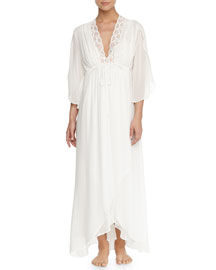 Tessa Lace-Trimmed Robe, Ivory