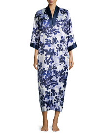 Magnolia Reflections Floral-Print Caftan, Blue/Purple