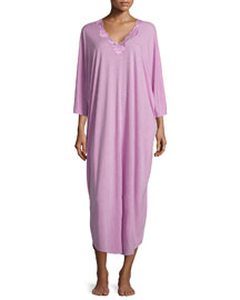 Zen Floral-Lace Caftan, Passion Purple