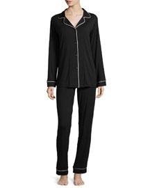 Classic Long-Sleeve Pajama Set, Black