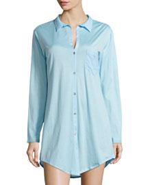 Cotton Deluxe Boyfriend Sleepshirt, Reef Blue