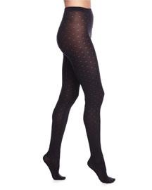 Alin Dot-Knit Patterned Tights, Black